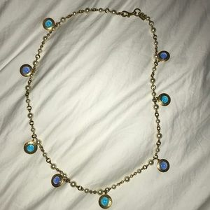 Coach Blue/Turquoise charms & Pearls Necklace